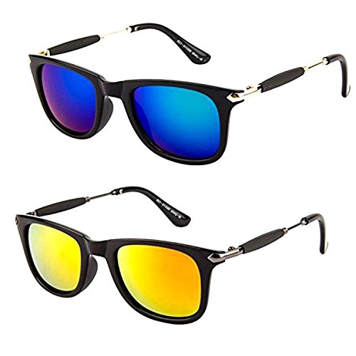 Combo Set of 2 Fashion Wayfarer Goggle and Sunglasses Ideal for Men Women Boys and Girls (Golden Rubber Stick Blue Mercury Square Wayfarer|56|Golden Rubber Stick Golden Green Mercury Square Wayfarer)