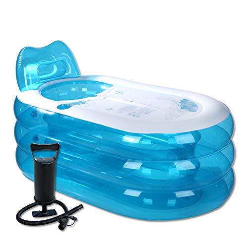Blaue transparente Badewanne mit...