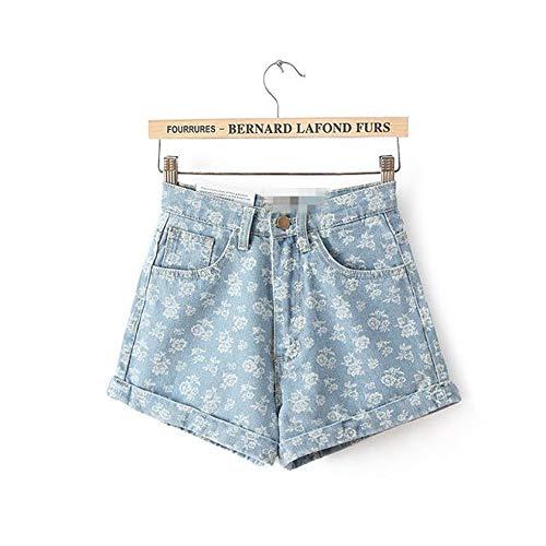 Frauen Shorts,Blumendruck Euro Style Frauen Denim Shorts Vintage Hohe Taille Cuffed Jeans Shorts Street Wear Sexy Sommer Frühling Herbst Shorts, 28. - Cuffed Jean Shorts