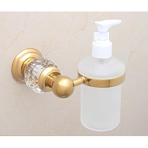 dispenser di sapone di cristallo in ottone dorato/lavello della cucina bottiglia dispenser di sapone a parete/Bagno disinfettante per le mani bottiglia/ciondolo in metallo in stile europeo-C
