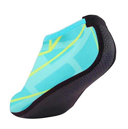 FNKDOR Unisex Fitnessschuhe Aquaschuhe Breathable Schlüpfen Schnell Trocknend Schwimmschuhe Yoga Schuhe für Damen Herren Kinder (34, Blau) (Ballerina-stil Wohnungen)