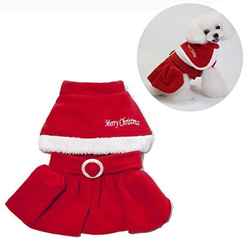 Jlcyyss abbigliamento per animali natalizi, vestiti per cani gatti di natale costume per babbo natale con cappuccio cappotto di velluto tuta piccolo cane femmina (rosso),xl