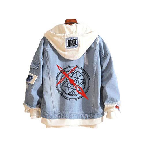 Cosstars Fate Zero Fate/Stay Night Anime Chaquetas de Mezclilla Denim Jacket Adulto Cosplay Jeans Hoodie Sudaderas Cárdigan 1 M