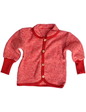 Cosilana Baby Jäckchen mit Rundhals und Holzknöpfen aus weichem Wollfleece, 100% Schurwolle kbT