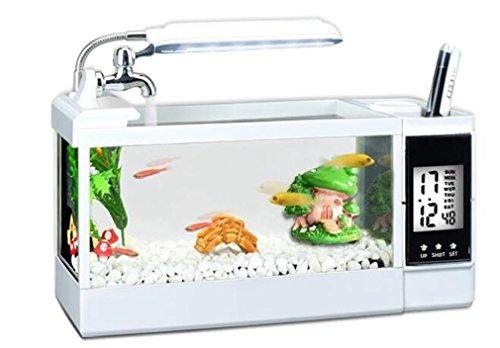 YANFEI 1.5L Schreibtisch-transparenter tropischer öko-kleiner mini interner Energie FilterLED Beleuchtung-Aquarium-transparenter Schreibtisch-kreativer Geschenk-Fisch-Behälter , [32*11*13] standard white cylinder