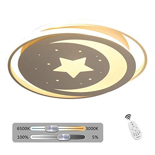 Acryl White Star (Kinderzimmer LED Deckenleuchte White Stars Moon Nette runde Deckenleuchte Kinder Dimmbar mit Fernbedienung Innenbeleuchtung Dekoration Wohnzimmer Schlafzimmer Korridor Studie Acryl und Eisen 30W Ø50)