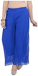 Soundarya Womens Chiffon Palazzo (Blue)