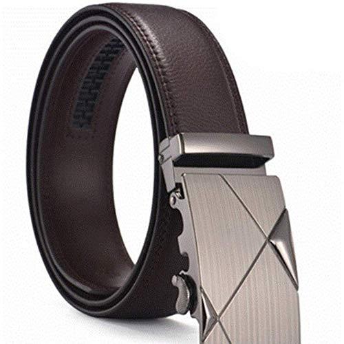 aoliaoyudonggha Men's Brand Genuine Leather Belt Brown Automatic Buckle Size 110-130 Cm Waist Strap Business Cintos (Hermes Gürtel Box)