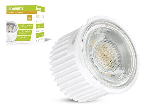 10 Stück linovum® ultra flaches 5W LED Modul Set nur 33mm tief - 230V für Einbauleuchten Einbaustrahler Rahmen, ersetzt 50W Halogen, warmweiß 2700K 50 Mm-modul