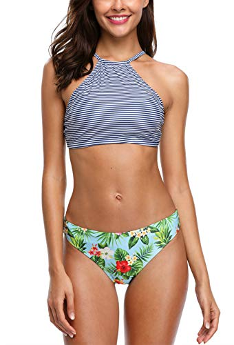 V FOR CITY Damen Böhmische Neckholder Strand Bikini Set Trägerlos Beachwear Bademode M -
