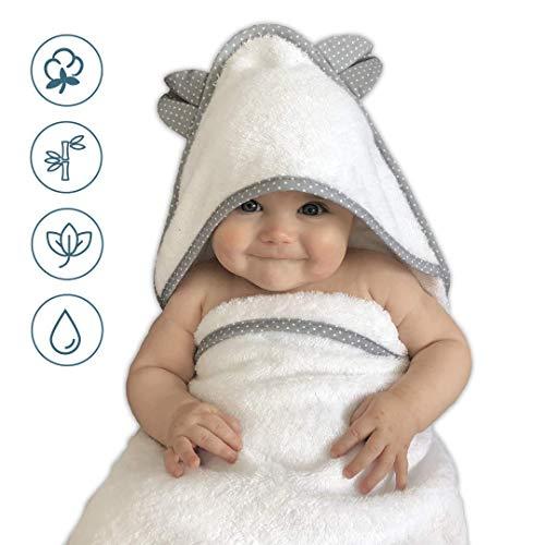 VABY - Babyhandtuch mit Kapuze, OEKO-TEX®, aus Baumwolle und Bambus, weiß/grau, Kinderhandtuch extra groß, Frottee Kapuzenhandtuch mit Ohren, Baby Handtuch für Neugeborene, Junge und Mädchen (Weiß)