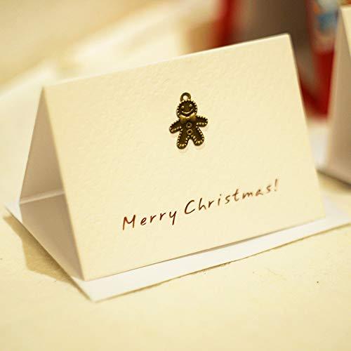 ZHOUBIN Cartoline di Natale splendidamente piegate in metallo Biglietti di auguri di capodanno San Valentino Compleanno Genitori del Ringraziamento Generale, Omino di panpepato 4 fogli set