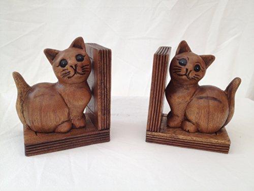 Cat Buchstützen handgefertigt in Akazienholz Keramik Cookie Jar