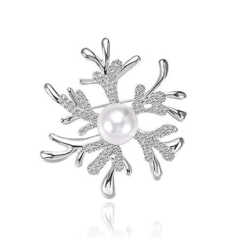 Adisaer Versilbert Brosche Damen Koralle Strass Elche Geweihe Kristall Schneeflocken CZ Weiß Perlen Broschen Silber Vintage