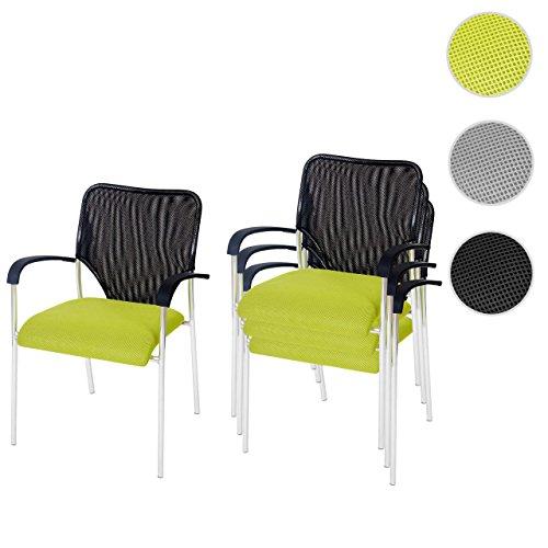 4x Besucherstuhl Tulsa, Konferenzstuhl stapelbar, Textil ~ Sitz grün, Rückenfläche schwarz