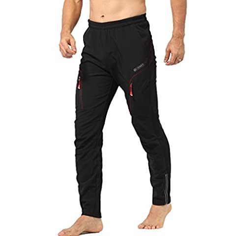 TOFERN Winter Cycling Pants Man's Thermal Riding Trousers Water-resistant Soil-resistant Windproof Fleece Pants for Cycling Hiking Camping Outdoors –Black and Red