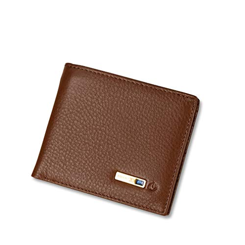 CARGPS Smart Anti-Lost Wallet mit Alarm/Bluetooth/GPS Locator/Positionsaufzeichnung per Telefon GPS für Herrenportemonnaie,Brown