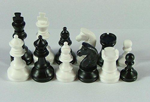 Schachfiguren-Nr-45018-weissschwarz-Knigshhe-74-mm-Staunton-Form