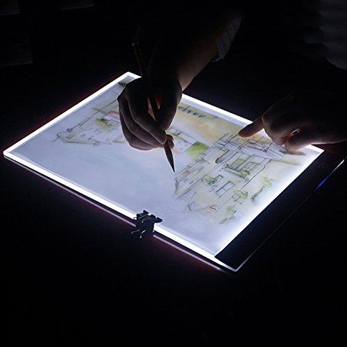 Yhlve Flache Schreibtafel mit LED-Licht, Zeichen-Pad, Kopier-Pad, digitales Zeichentablet, PC, Handbuch, A5-Kopiebogen, 30 x 23 cm