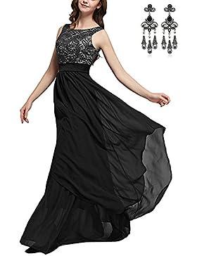 CARINACOCO Donna Elegante Vestiti da Matrimonio Pizzo Abito in Chiffon Lunghi Vestito Formale Banchetto Sera