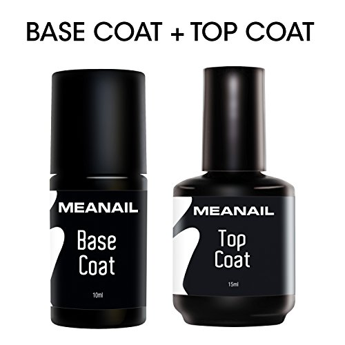 Base e Top Coat Semipermanente per Soak Off UV LED per Smalto Semipermanente e Gel Polish • 25 ml di Base e Top Coat Ultra Resistenti • Norme CE Europee • MEANAIL