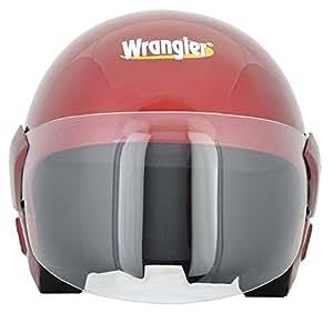 Wrangler Open Face Helmet with Visor (Wine Red, M)