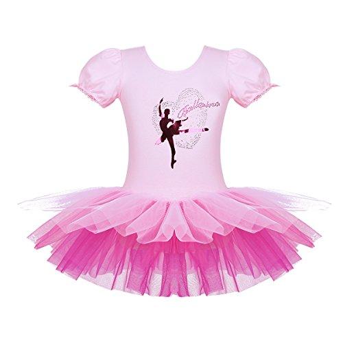 iEFiEL Vestidos con Tutú Profesional Maillot Danza de Ballet Leotardo de Gimnasia para Niña 2-8 Años Rosa 7-8Años