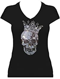 Skull Shirt Damen Totenkopf mit Krone gross Strass T-Shirt Karneval Fasching Kostüm Totenkopfshirt
