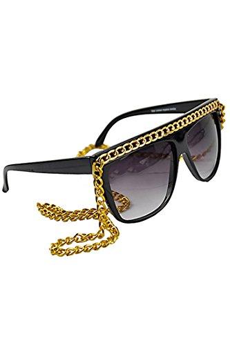 Sonnenbrille - SODIAL (R) Dame Kette Sonnenbrille (schwarz + gold)
