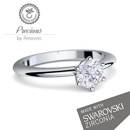 Verlobungsring Damen Silber 925 Von Amoonic Mit Swarovski Zirkonia