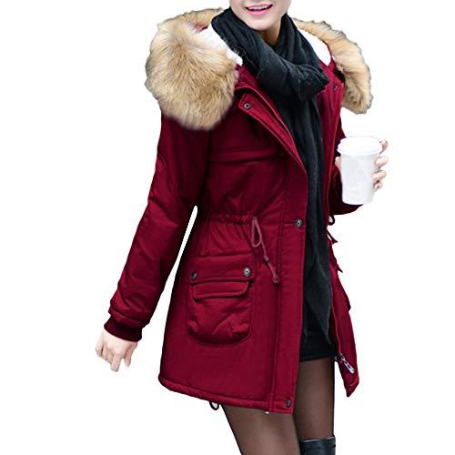 SOMESUN Damen Schlank Elegant Daunenjacke Frau Mädchen Modisch Slim Luxus Winter Warme Baumwolle Daunenmantel Mit Kapuze Draussen Winddicht...