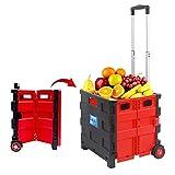 HQSF 45L Einkaufstrolley Transport Trolley Klappbar Aluminium Kunststoff Schwarz Rot Einkaufswagen Klappbox Shopping Trolley Black red-45L