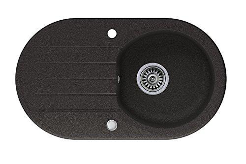Granitspüle graphit, 1-Becken, Drehexcenter + Siphon, Spülbecken, Küchenspüle, Schrankbreite ab 45 cm