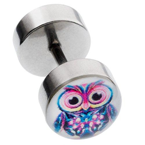 paletti Ohr Fake Plug Piercing Eule Disc Durchmesser 8mm Chirurgenstahl