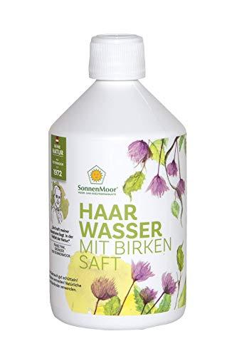 Sonnenmoor Haarwasser mit natürlichem Birkensaft für juckende und trockene Kopfhaut, Naturkosmetik in der 500 ml Flasche