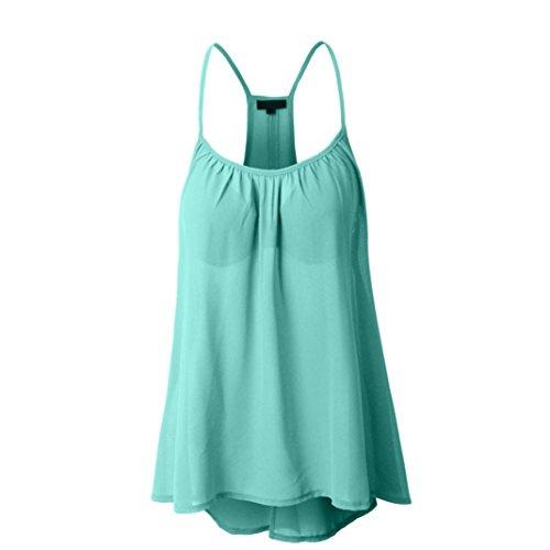 UFACE 2018 Sling Rundhalsausschnitt äRmelloses Chiffon Top Frauen Neckholder Tank Crop Tops Weste Bluse T Shirt (L, Minzgrün)