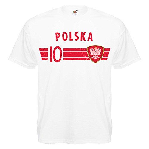 Fußball WM T-Shirt Fan Artikel Nummer 10 - Weltmeisterschaft 2018 - Länder Trikot Jersey Herren Damen Kinder Polen Polska Poland 4XL