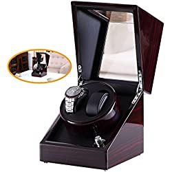 [100% Pure Handmade]Love Nest automatic double Watch Winder in Piano finish with Japanese Mabuchi Motor 8EB (Color: Burgundy with black + black pillow)