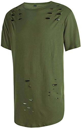 Pizoff Unisex Hip Hop Urban Superlanges T-Shirt in stark zerschlissener Optik und mit rundem Saum Y1725-ArmyGreen-XXL (Fitted Womens Tee Cap Sleeve)
