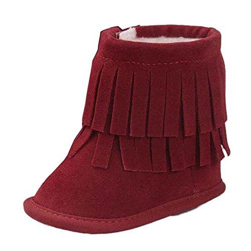 WOCACHI Baby Warmhalte Double-deck Quasten weiche Sohle Snow Boots Soft Krippe Schuhe Kleinkind Stiefel Krabbelschuhe (12cm, Rot) Rot