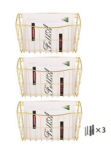 Generic Porte-documents mural 3 pochettes A4 à suspendre doré