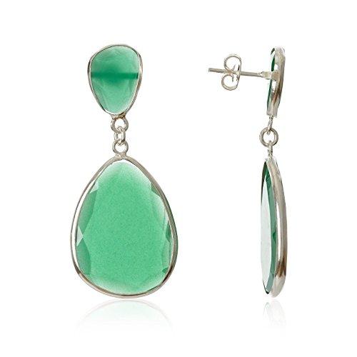 Córdoba Jewels | Pendientes en plata de Ley 925 con piedra semipreciosa. Diseño Luxury Esmeralda Plata