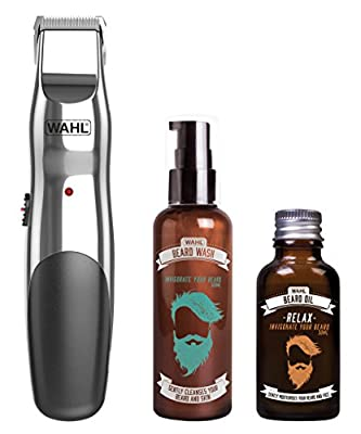 Wahl Rechargeable Trimmer Beard Oil and Beard Wash Gift Set