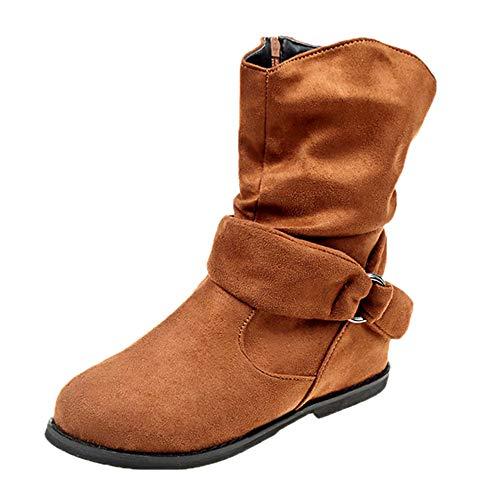 FNKDOR Damen Stiefel Flach Booties Weiche Schuhe Stiefeletten Reißverschluss (38 EU, Braun)