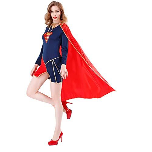 Ein Spiderman Kostüm Stück - CVFDGETS Superman Held Rollenspiel Stück Kostüm Weiblich Spiderman Cosplay Kostüm Bodysuit Zubehör Sport Hochelastische Strumpfhose,Superman-M