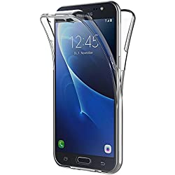 AICEK Coque Samsung Galaxy J7 2016, 360°Full Body Transparente Silicone Coque pour Samsung J7 2016 Housse Silicone Etui Case
