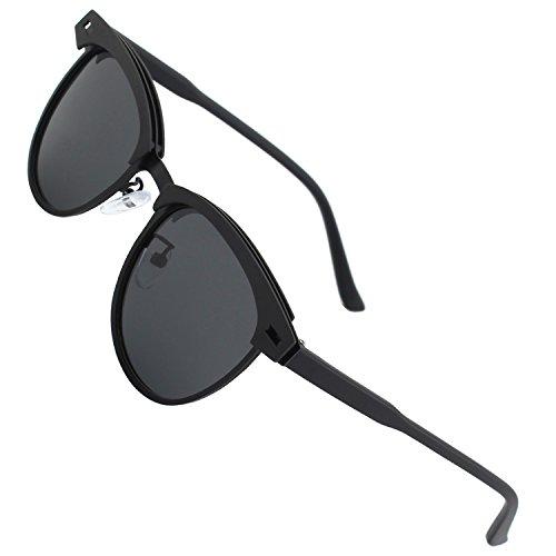 CGID Polarisierte Nerd Matt Verspiegelt Sonnenbrille Stil Modische Retro Vintage Für Herren Und Damen Unisex Brille 100% UV400 Schutz Ultra Leicht- 52, D Schwarz Grau