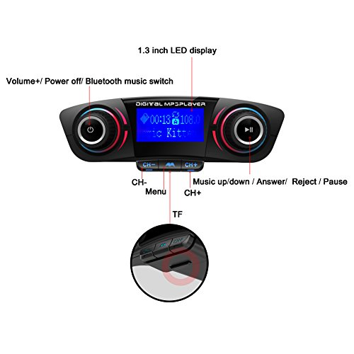 Eincar Bluetooth FM-Transmitter f¨¹r Auto, drahtlose Bluetooth-Radio-Sender-Adapter mit Hand Free Calling und 1,3-Zoll-LED-Anzeige, Musik-Player-Unterst¨¹tzungs-TF-Karte USB-Flash-Laufwerk AUX Input Tune Free Fm Transmitter
