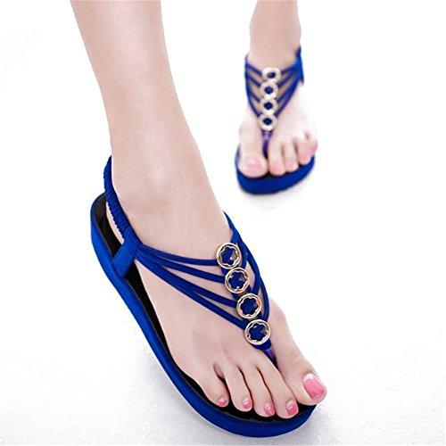 Fortuning's JDS Elegante piattaforma di moda infradito sandali estate per le donne Blu