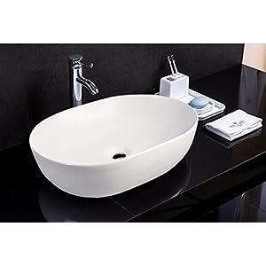 Lavabo de cerámica, Lavabo sobre encimera, lavabo Rectangular Lavamanos Cuarto de Baño 49×35